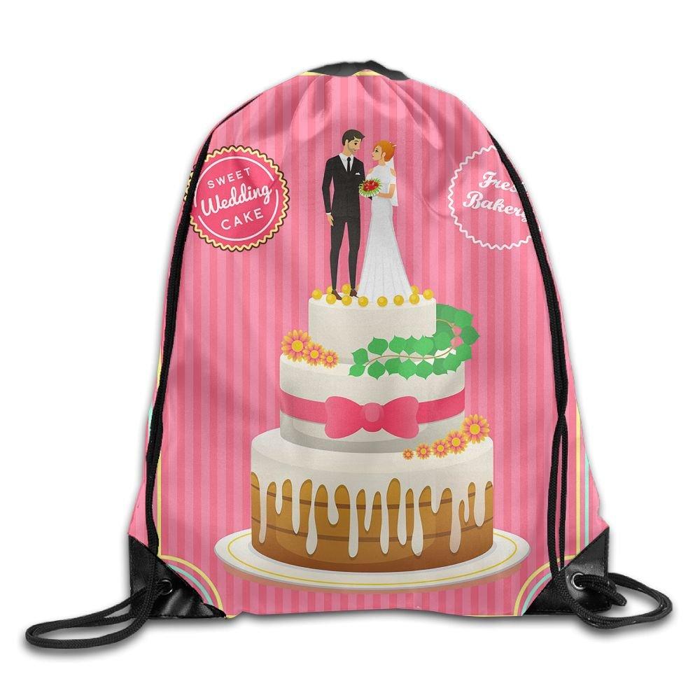 WSXEDC Drawstring Bag Sweet Wedding Durable Backpack For Yoga Sport Travel