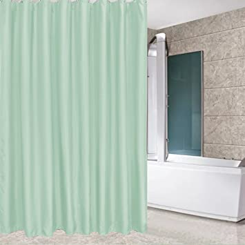 Eforcurtain Spring Fresh Mint Green Color Shower Curtain Waterproof Mildew Resistant Solid Decorative Bathroom