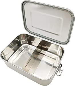 UPTRUST Leak Proof Stainless Steel Lunch Food Container, Large Bento Boxes Metal Lunch Box for Kids or Adults - Lockable Clips Adjustable Divider included -Dishwasher Safe, BPA free (1200ML/40oz)