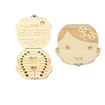 Earring Bracelet first teeth Personalized Jewelry Chest Casket Wooden box Baby Milk Tooth Can Memory Treasure Box