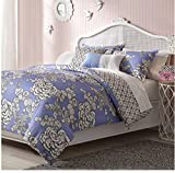 5 Piece Reversible Floral Hummingbird Design Comforter Set Full/Queen Size, Featuring Cornflower Bird Embroidered Pattern Comfortable Bedding, Modern French Country Inspired Girls Bedroom, Blue, White