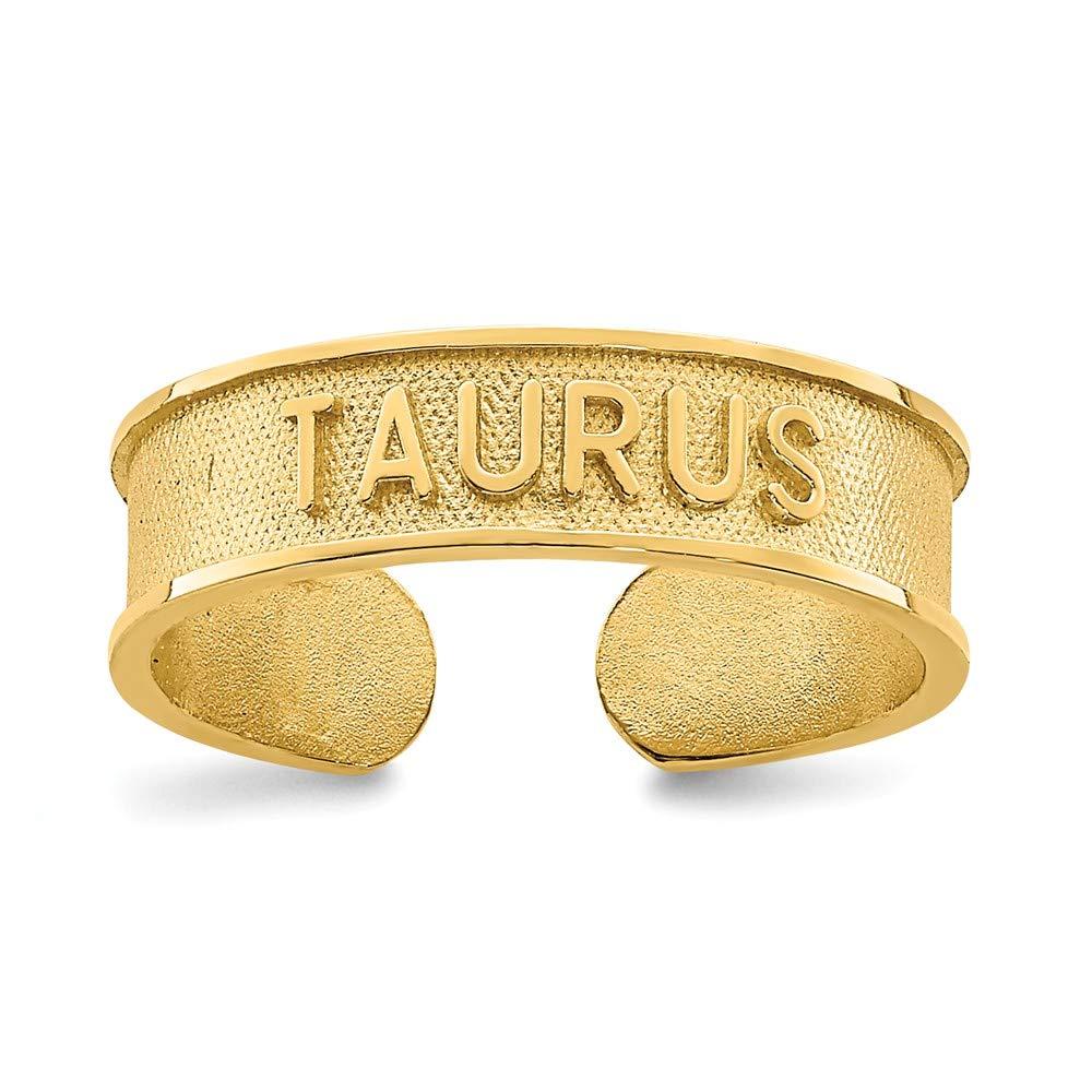14K Yellow Gold Brushed & Polished Zodiac Taurus Toe Ring
