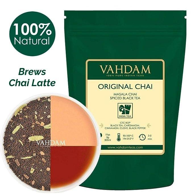 Hojas sueltas de té original de la India Masala Chai (más de 200 tazas) | 100% INGREDIENTES NATURALES | Té negro, canela, cardamomo, clavo y pimienta negra ...