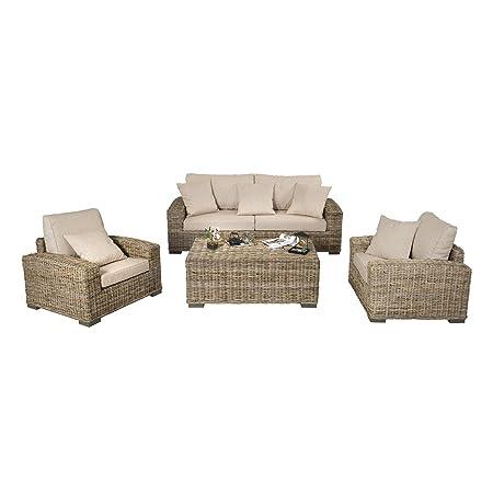 REBAJAS : -46% Salon de ratan Trevise moderno : 1 sofa, 2 ...