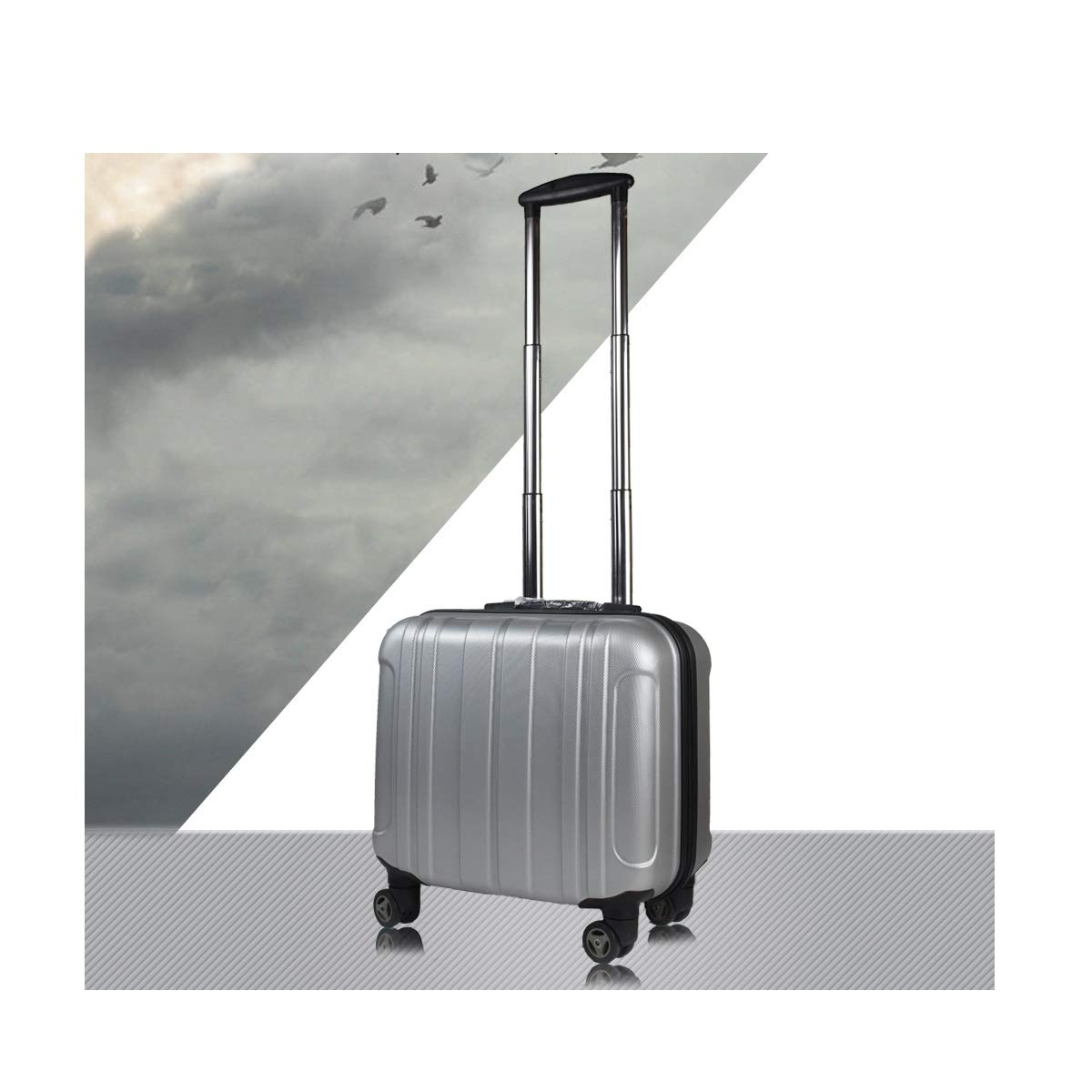 Travel Organizer 18 inches Color : Silver Best Gift Trolley case Bahaowenjuguan Hard-Spinning Suitcase Carrying Luggage Black