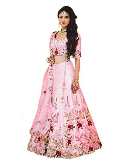 1e5a3c6978 7 HORSE SELECTION Women's Banglori Silk Embroidered Semi-Stitched Lehenga  Choli (Baby Pink,