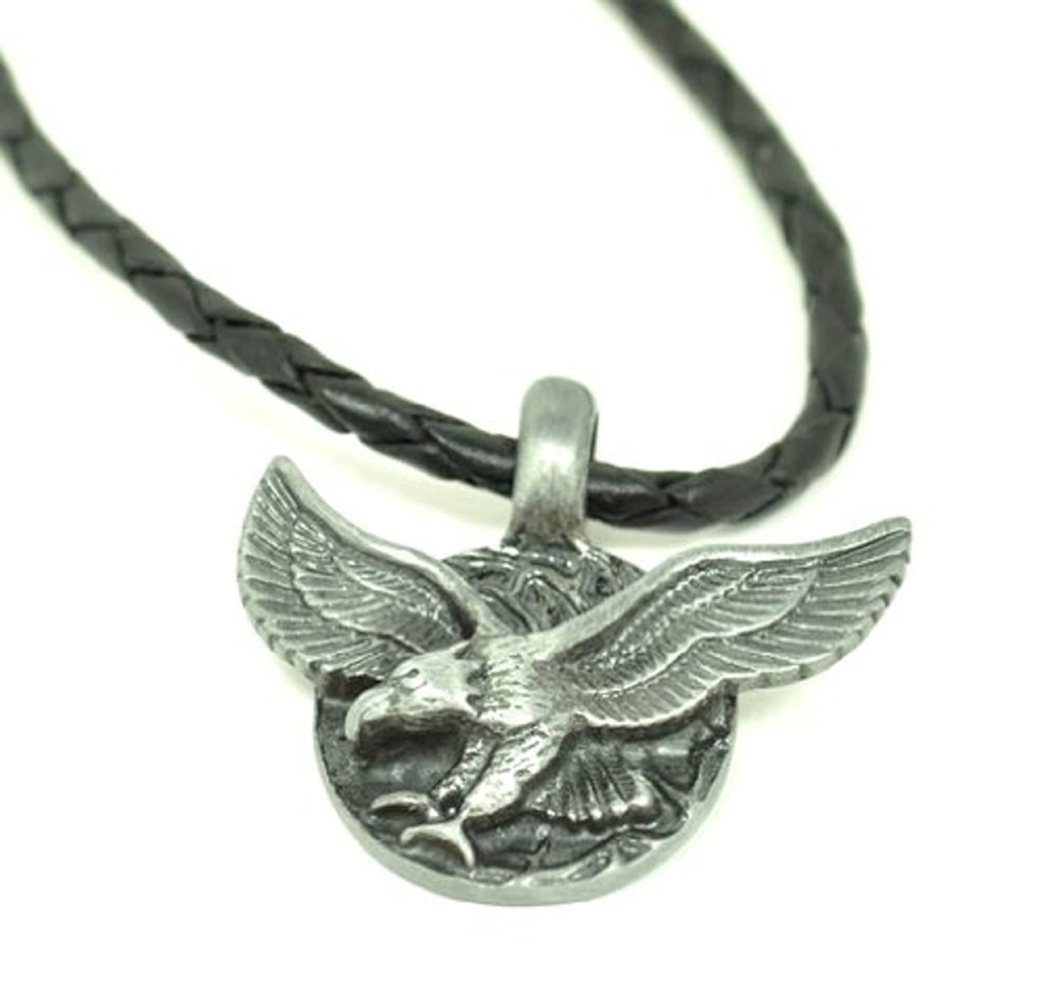 patriotic necklace pendant rope jewelry statement large giant bold tri color pin eagle chain