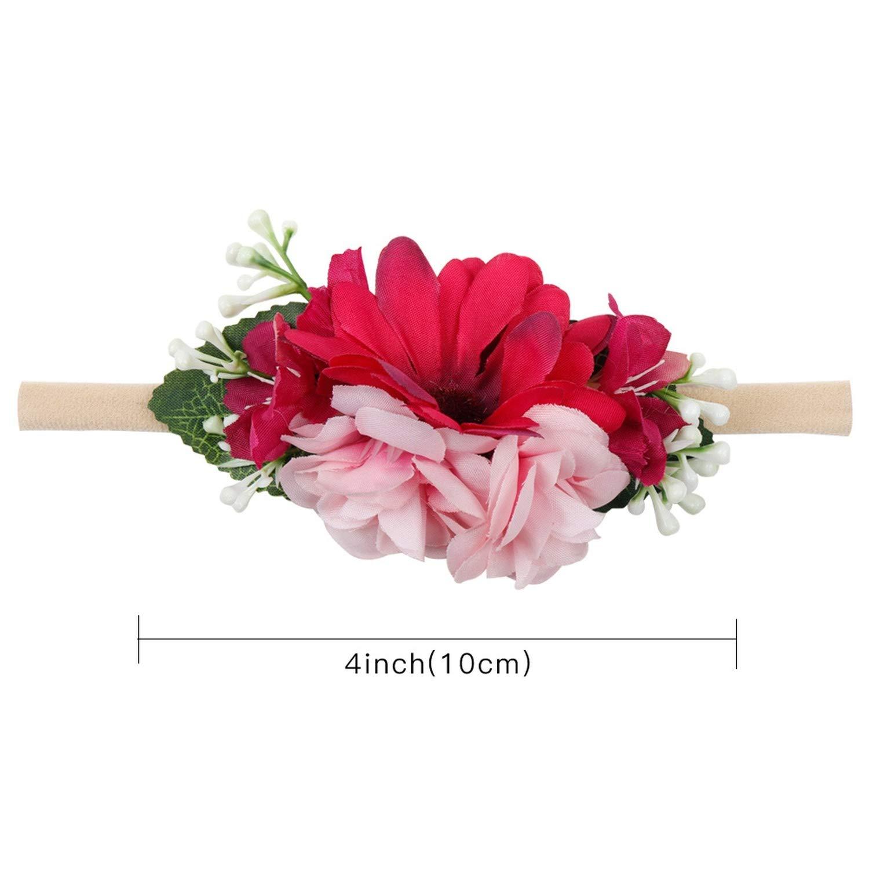 Hair Accessories Flower Wreath Girls Headband Artificial Floral Garlands Hairband for Wedding Nylon Bands Elastic Headwear,5