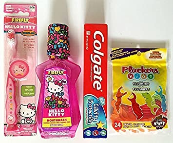 5cbb0504b Hello Kitty Toothbrush Home Travel Bundle Kit with Kid's Mouthwash, Colgate  Toothpaste, and Dental