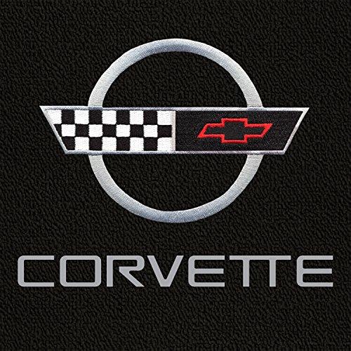 Lloyd Mats - Classic Loop Black 3PC Floor Mats for Corvette Coupe 1995-96 with Silver C4 Emblem and Corvette - Corvette Lettering Silver