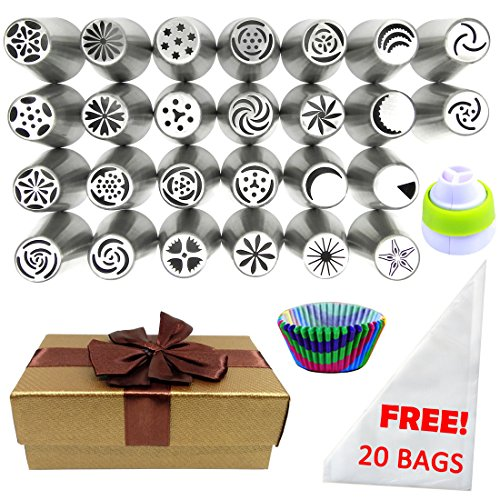 Russian Piping Gift Wrapped Cupcake Decorating