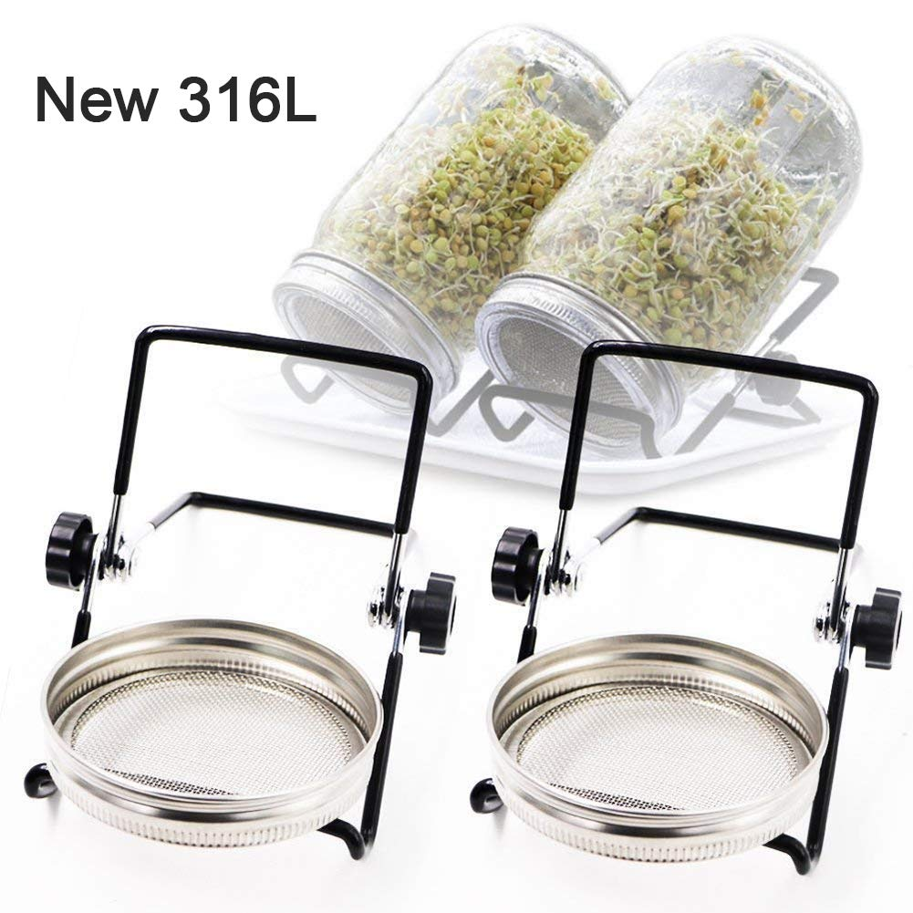 Sprouting Jar Lids and Stands, Sprouting Kit Stainless Steel for 32 Oz Wide Mouth Mason Jar and Phone iPad Tablet (2PCS Lids + 2PCS Stands) by Lanting