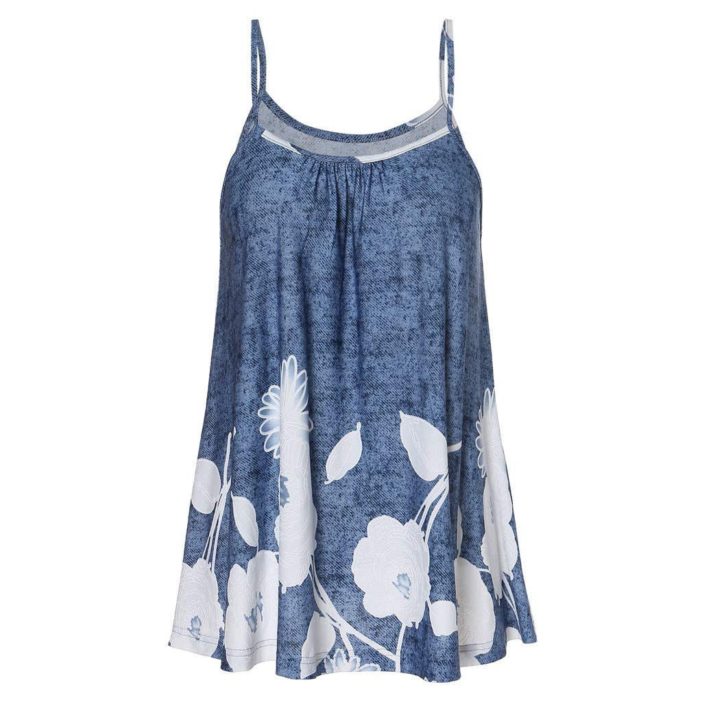 Blouse Purple, White Blouses for Women Plus Size,Fashion Women Sexy Sleeveless Cold Shoulder Floral Print Strap Casual Camis Top