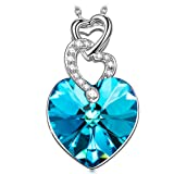 """Amazon Price History for:KATE LYNN ♥Valentine's Day Gift♥ Women Jewelry """"Heart to Heart"""" Pendant Necklace Made with Vitrail Light Bermuda Blue Swarovski Crystals - Love is of no condition"""