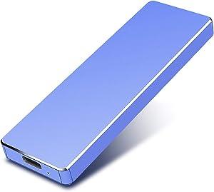 Portable 1TB External Hard Drive - Hard Drive External USB3.1 HDD for Mac Laptop PC (2TB, Blue)