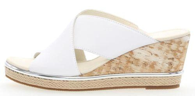 Gabor 85.770-21- Damenschuhe Pantolette/Zehentrenner, Weiß, Absatzhöhe: 45 MM