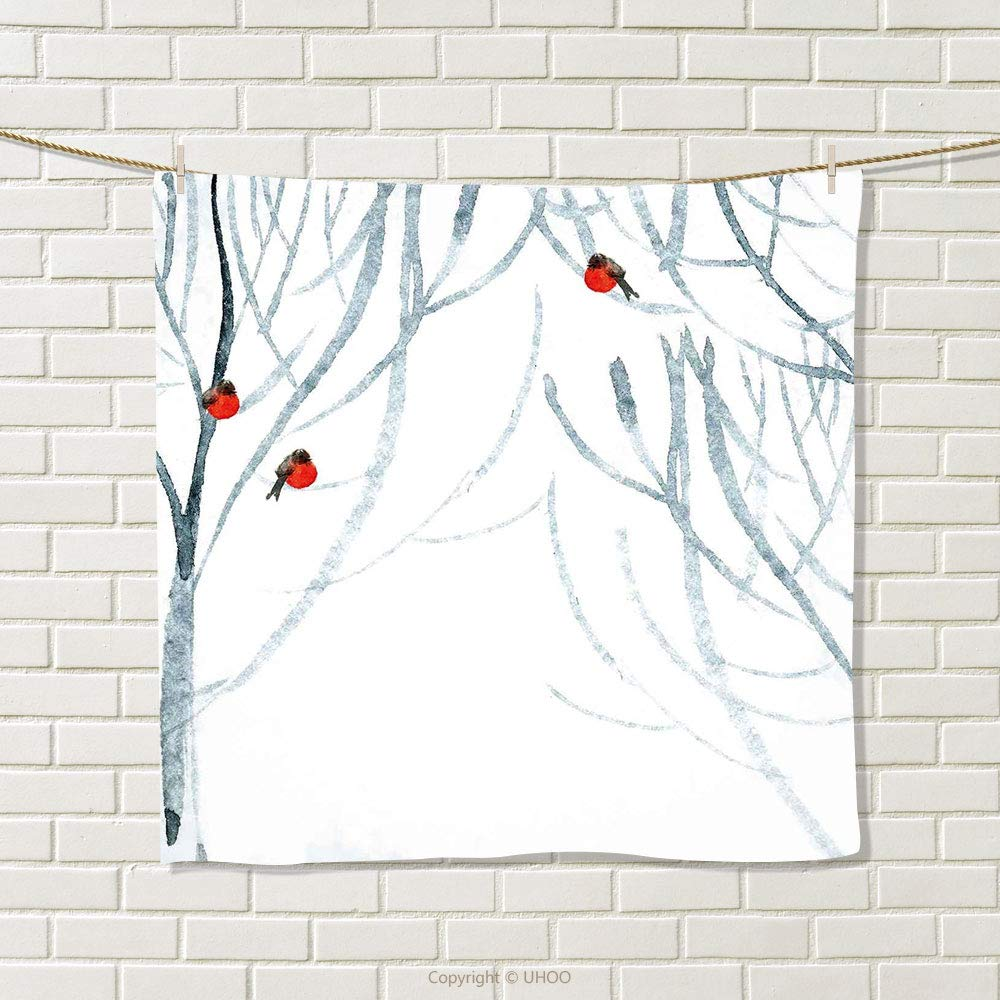 smallbeefly Modern Hand Towel Trees Water Colored Image of Winter Woods with Bullfinches Print Quick-Dry Towels Black White Pale Grey and Red Size: W 20'' x L 34''