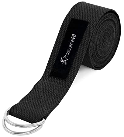 ProSource Fit Metal D-Ring Yoga Strap 8 Durable Cotton for Stretching and Flexibility