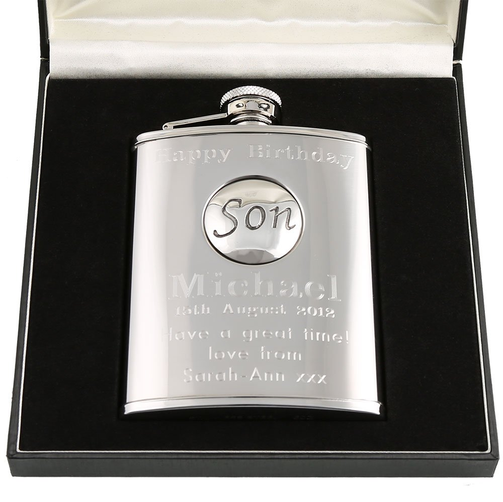 21st Birthday Gift Stainless Steel Engraved Hip Flask With Pewter Son Feature In A Quality