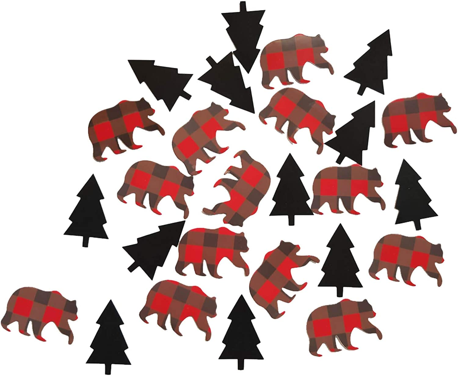Lumberjack Confetti Buffalo Plaid Rustic Hunter Table Confetti Christmas Woodland Camping Wild Bear Themed 1st 2nd 3th Birthday Baby Shower Party Supplies Decorations Table Scatter Decor