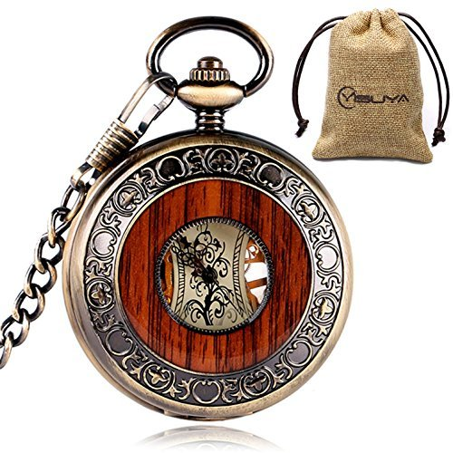 Vintage+Bronze+Wooden+Mechanical+Pocket+Watch+Roman+Numerals+Creative+Carving+Flower+Dial+Luxury+Pendant
