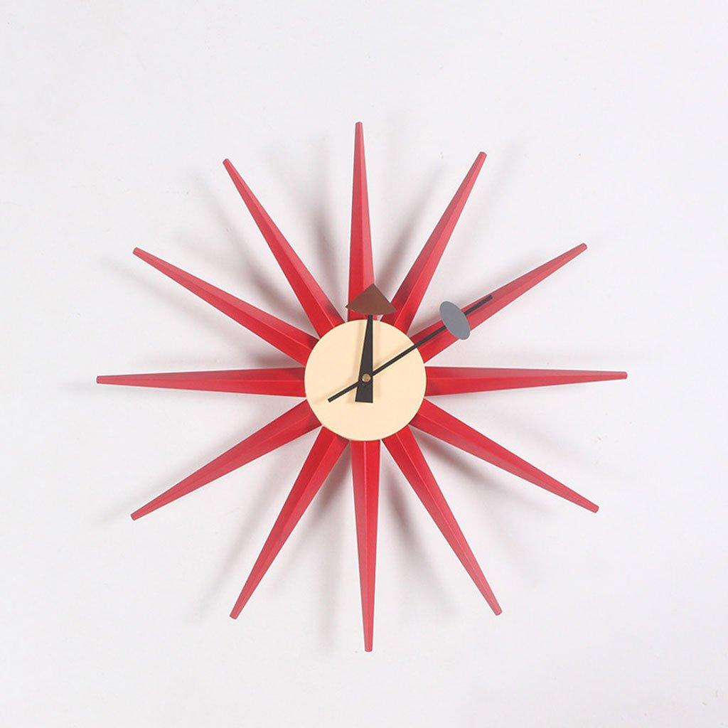 ライトウォールクロックサンバースト時計ファッションクリエイティブホームアクセサリーウォールクロックソリッドウッドカラー (Color : Red) B07CSK55S9 Red Red