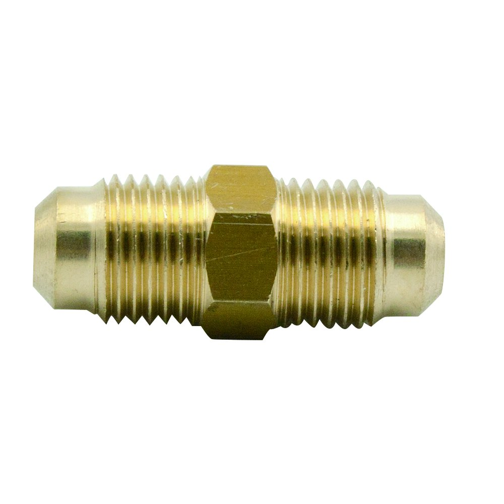 Legines Brass Flare Fitting, SAE 45 Degree Flare Union, 1/2'' OD x 1/2'' OD (Pack of 2) by legines