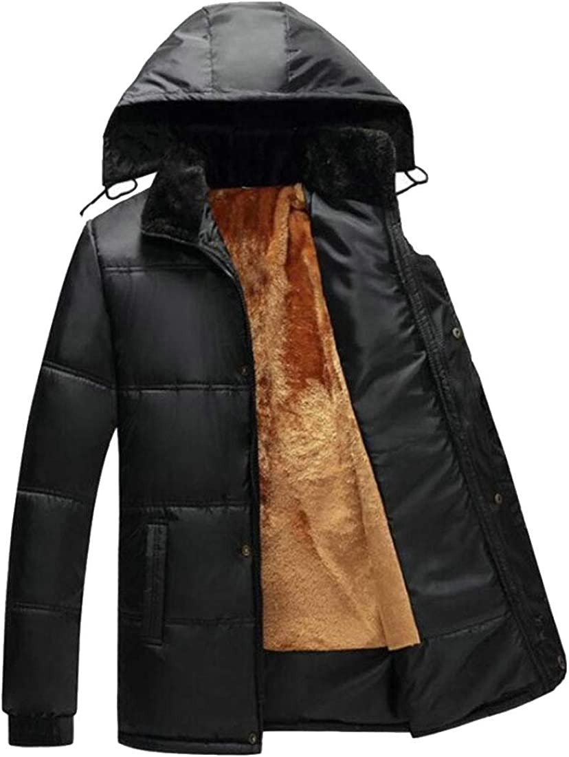 XQS Mens Hooded Faux Fur Lined Winter Coats Jacket