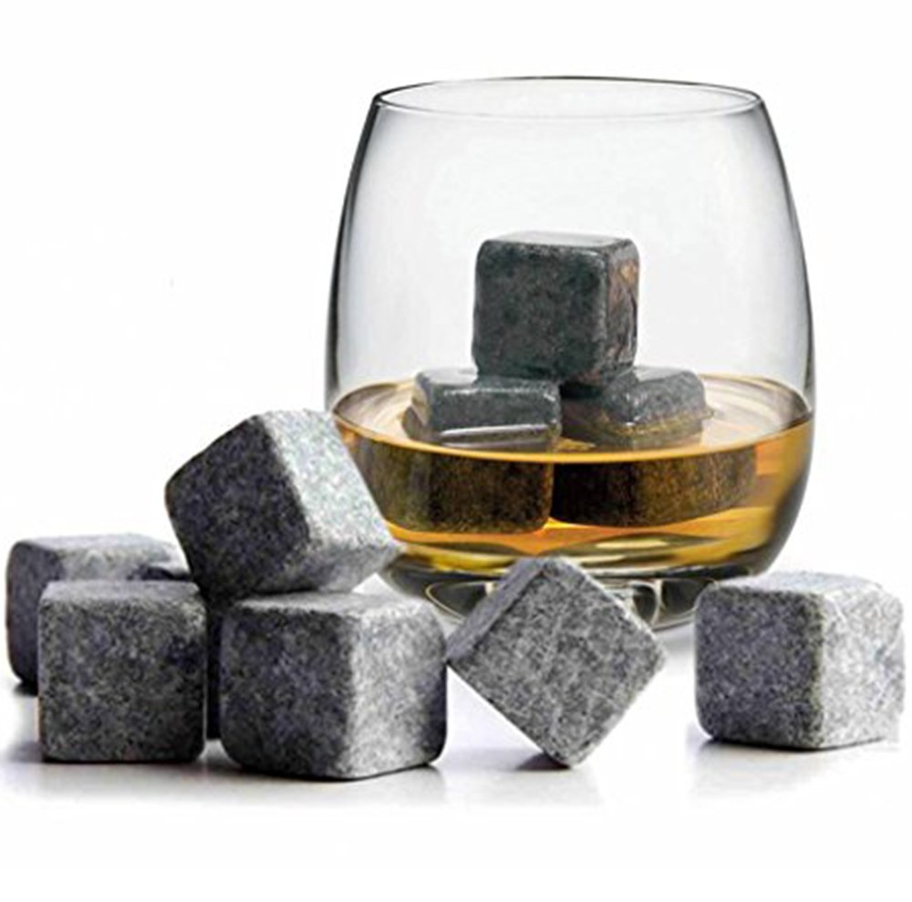 Iron Products Whiskey Stones For Whiskey, Bourbon, Scotch, And Wine - The Perfect Mother or Fathers Day Gift - Set Of 6 Stones Packaged In Wooden Gift Box And Velvet Bag Included.