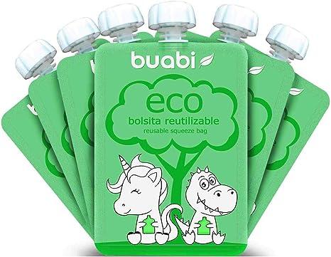 Buabi bolsitas reutilizables comida bebe - Pack de 6 bolsas de ...