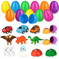 12-Pack Baztoy Easter Eggs Plastic Bulk Easter Toy Gifts Party Favor Filler with Surprise Mini Toys