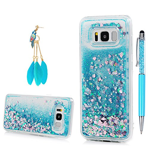 Galaxy S8 Plus Case, YOKIRIN Clear Flexible Silicone Phone Cover Pink Glitter Shiny Liquid Sand Shockproof Protective Case for Samsung Galaxy S8 Plus with One Touch Pen & One Dust Plug, Blue