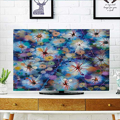Firefly Cable Protector - L-QN Dust Resistant Television Protector with Firefly Bug Mother Earth Turquoise Purple tv dust Cover W36 x H60 INCH/TV 65