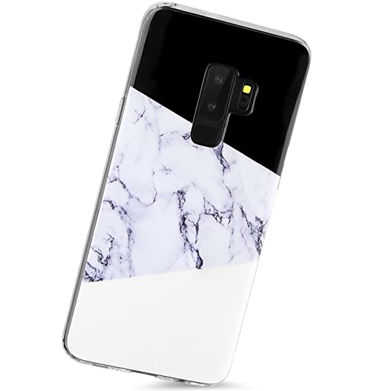 buy online 747e2 aba9c Galaxy S9 Plus Case,Samsung Glaxy S9 Plus Case,Black White Marble Cute  Women Girls Men Clear Bumper Slim Shockproof Glassy Soft Silicon Rubber TPU  ...