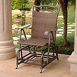 International Caravan Valencia Wicker Outdoor Glider Chair For Sale