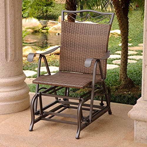 - International Caravan Patio Glider Chair in Antique Brown Finish