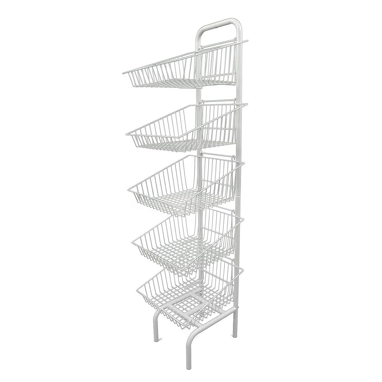5 Tier Basket Retail Shop Display Unit in White Finish
