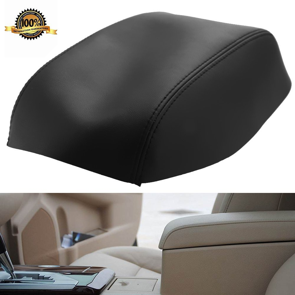 Hoypeyfiy Fits 2007-2011 Toyota Camry Leather Center Console Lid Armrest Cover Black(Leather Part only)