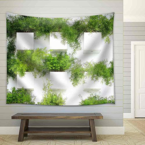 the Green Creeper Plant on a White Wall Creates a Beautiful Background Fabric Wall Tapestry