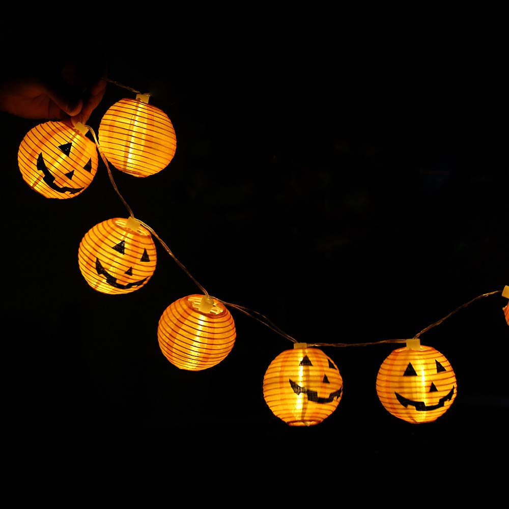 Weite Set of 6 Halloween 3D Energy-Saving Pumpkin String Lights, Battery-Powered Indoor LED Light Lantern for Festival Party Decor(2.4ft) (Yellow)