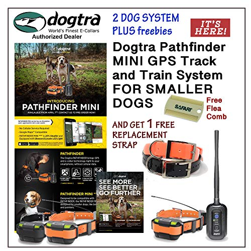 Dogtra 2 Dog Pathfinder Mini GPS Track and Train System for Smaller Breed Dogs GET 1 Free Replacement Strap and Flea Comb (Black)