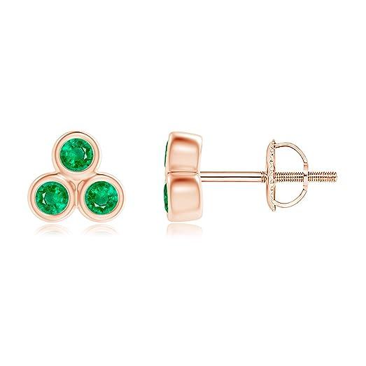 Angara Bezel-Set Emerald Trio Cluster Stud Earrings p0iLto9h