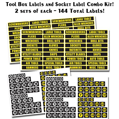 Tool Box Labels AND Socket Labels - 144 total vinyl decals - 2 of each sets included in combo kit