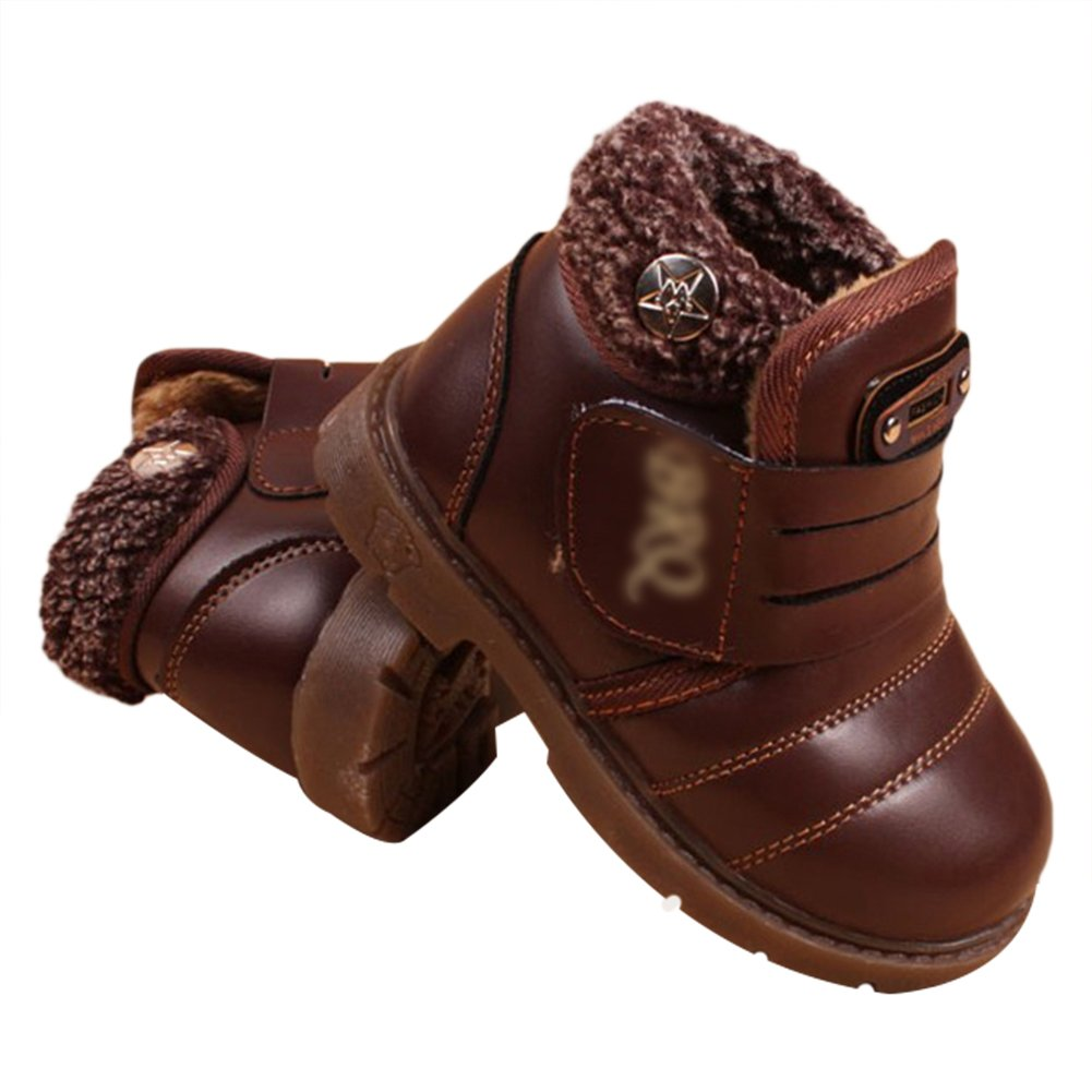 TAIYCYXGAN Baby Toddler Boys Leather Faux Fur Snow Boots Kids Winter Warm Fleece Booties
