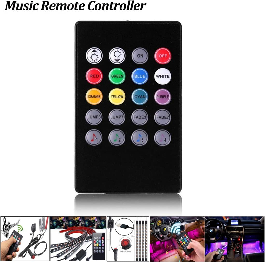 Wireless Remote Controller IR Music for Car LED Strip Lights with Music Sounds Activated Car Exterior Interior Lights Atmosphere Neon Lights Underglow Dash Lighting Kit