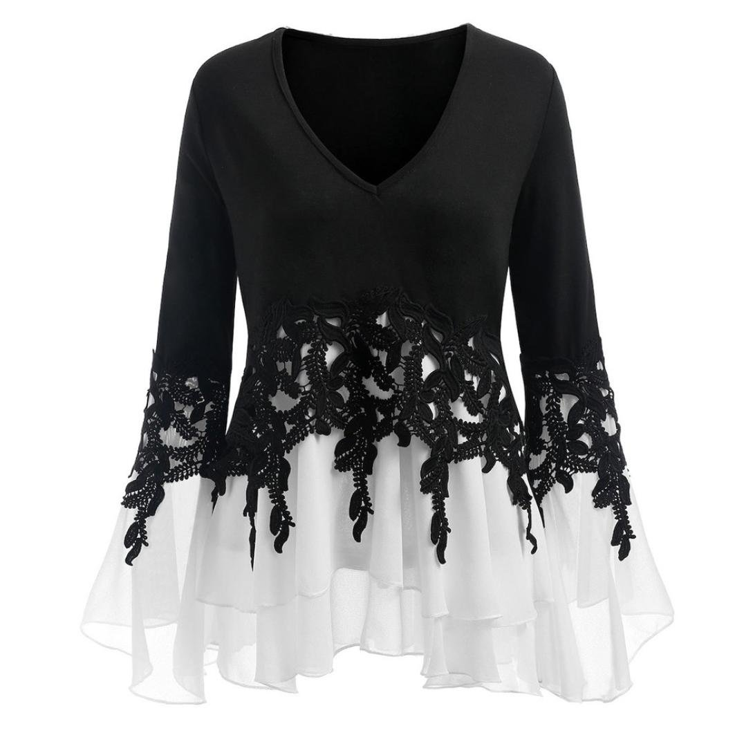 Chiffon Blouse,Toimoth Fashion Womens Casual Applique Flowy Chiffon Long Sleeve Blouse Tops(Black,XXXXXL)