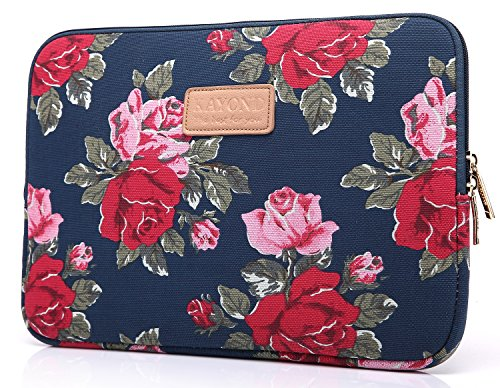 KAYOND KY-41 Canvas Fabric Sleeve for 15.6-inch Laptops - Peony Patterns (15.6, Bule Peony) (Peony Pattern)