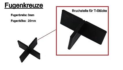 Fugenkreuze, Fliesenkreuze für Terrassenplatten, Bodenplatten, 200 Stück (3 mm/20 mm) - #3056, 3-20