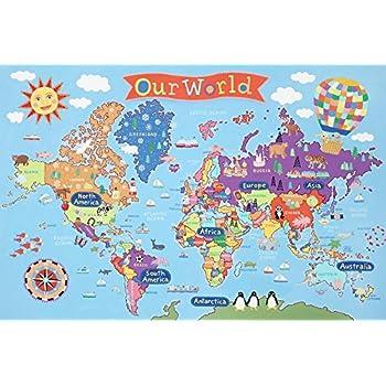 Amazoncom Kids Laminated World Map Laminated Poster X In - Kids world map poster