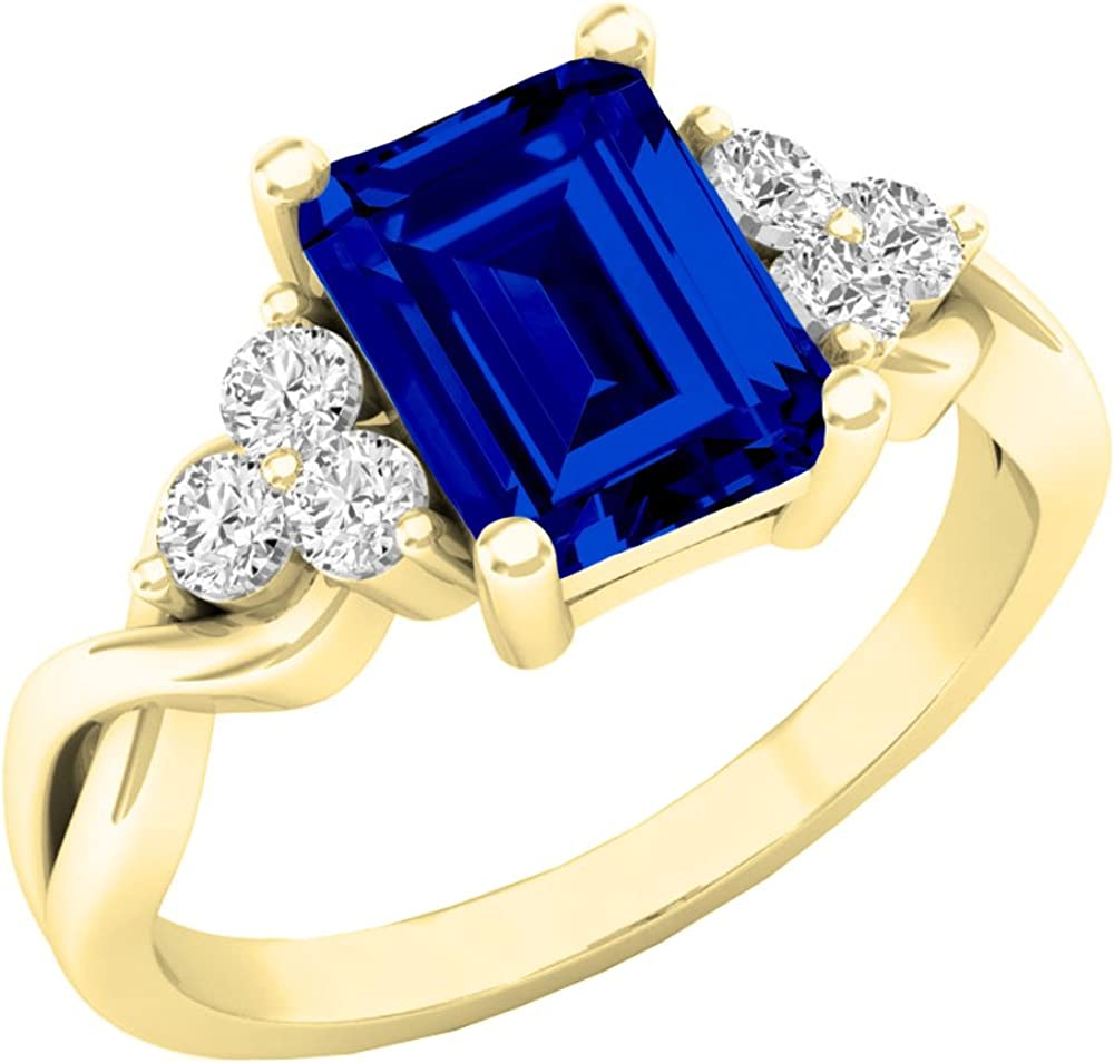 Dazzlingrock Collection 10K 8X6 MM Emerald Cut Lab Created Gemstone & Round Sapphire Ladies Engagement Ring, Yellow Gold